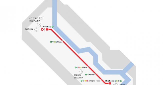 Plano de RENFE Cercanías Zaragoza