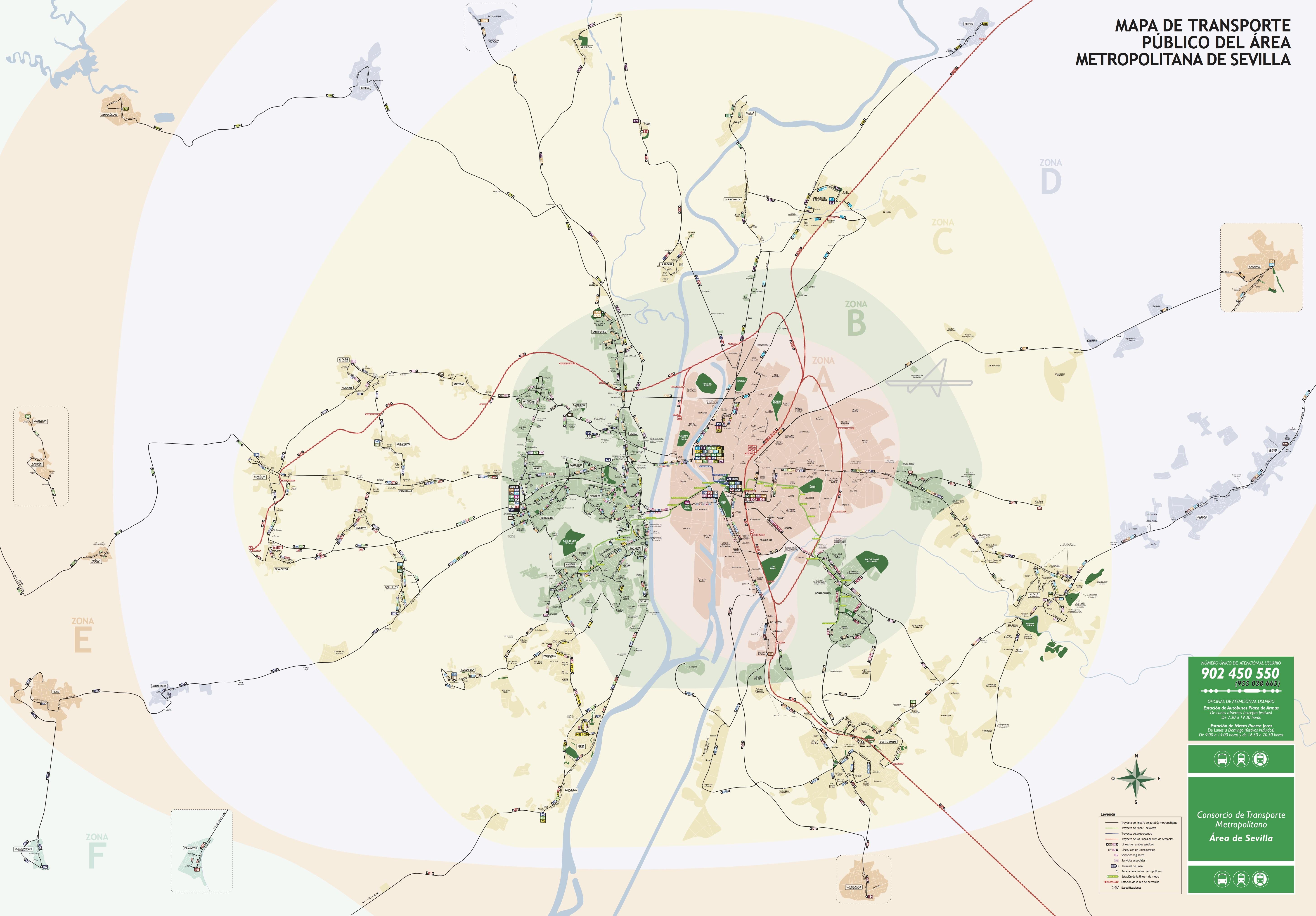 Plano de Autobuses Metropolitanos de Sevilla