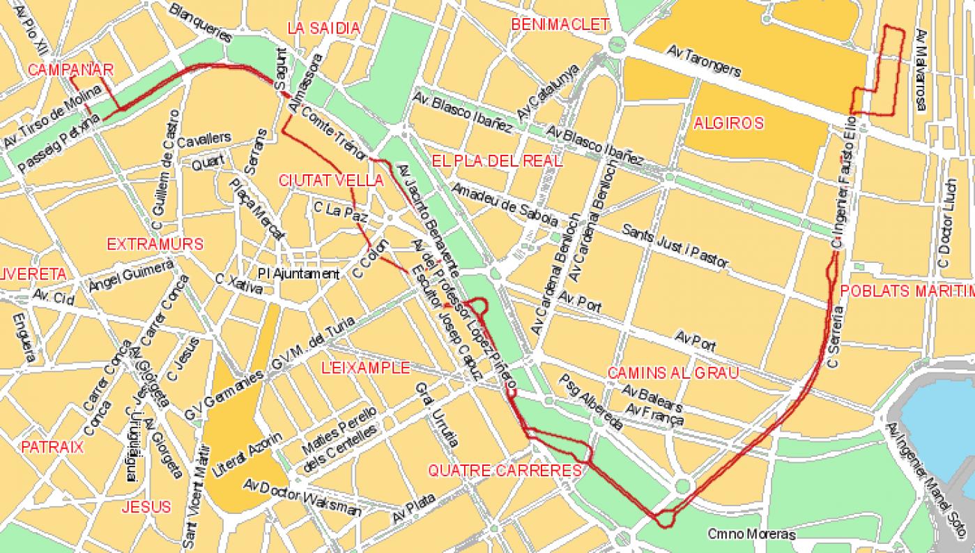 Recorrido esquemático, paradas y correspondencias Línea 1: Estació d'autobusos - La Malva-Rosa