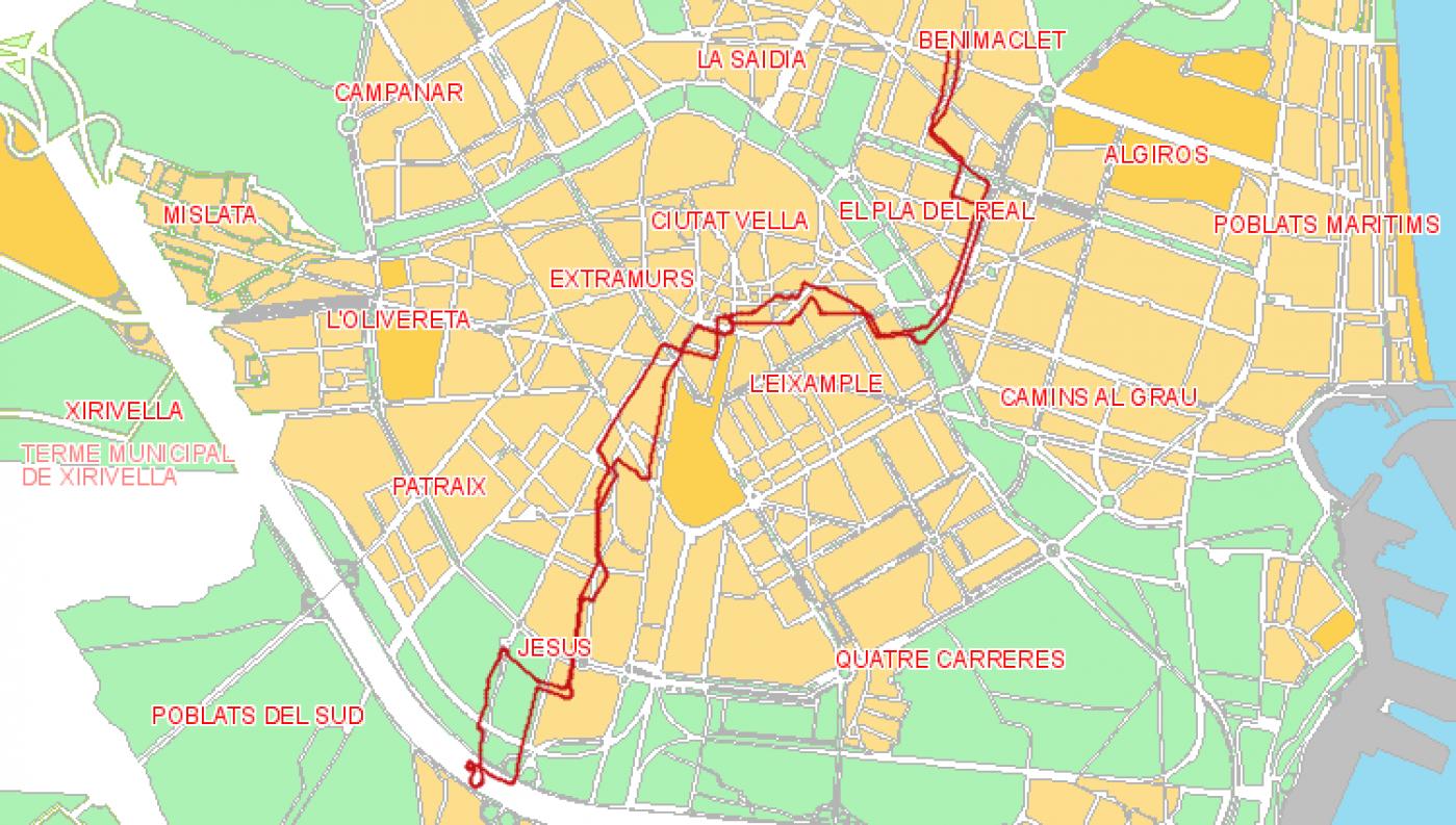Recorrido esquemático, paradas y correspondencias Línea 10: Benimaclet - Sant Marcel