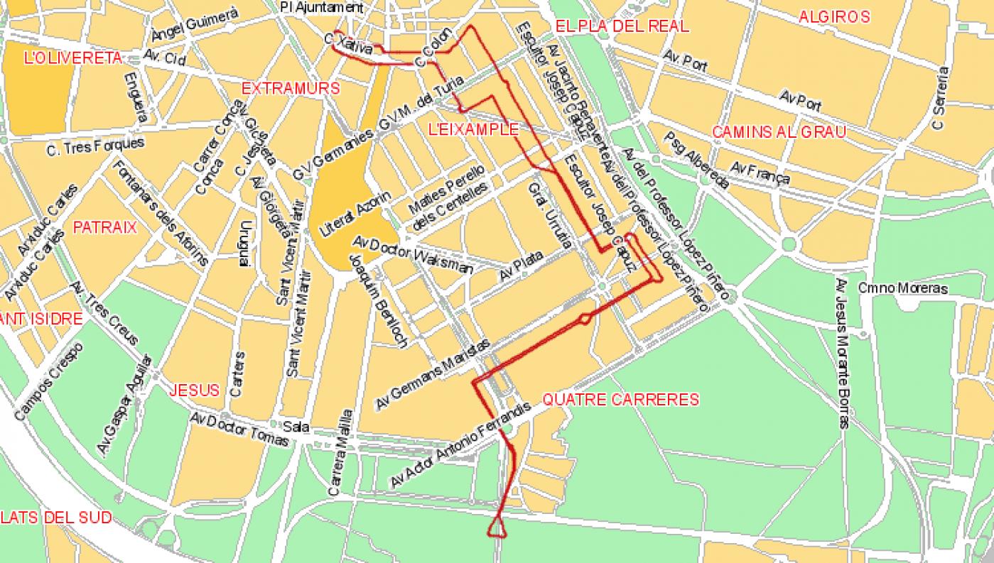 Recorrido esquemático, paradas y correspondencias Línea 13: La Fonteta-Ciutat Arts i Ciencies - B. de Càrcer