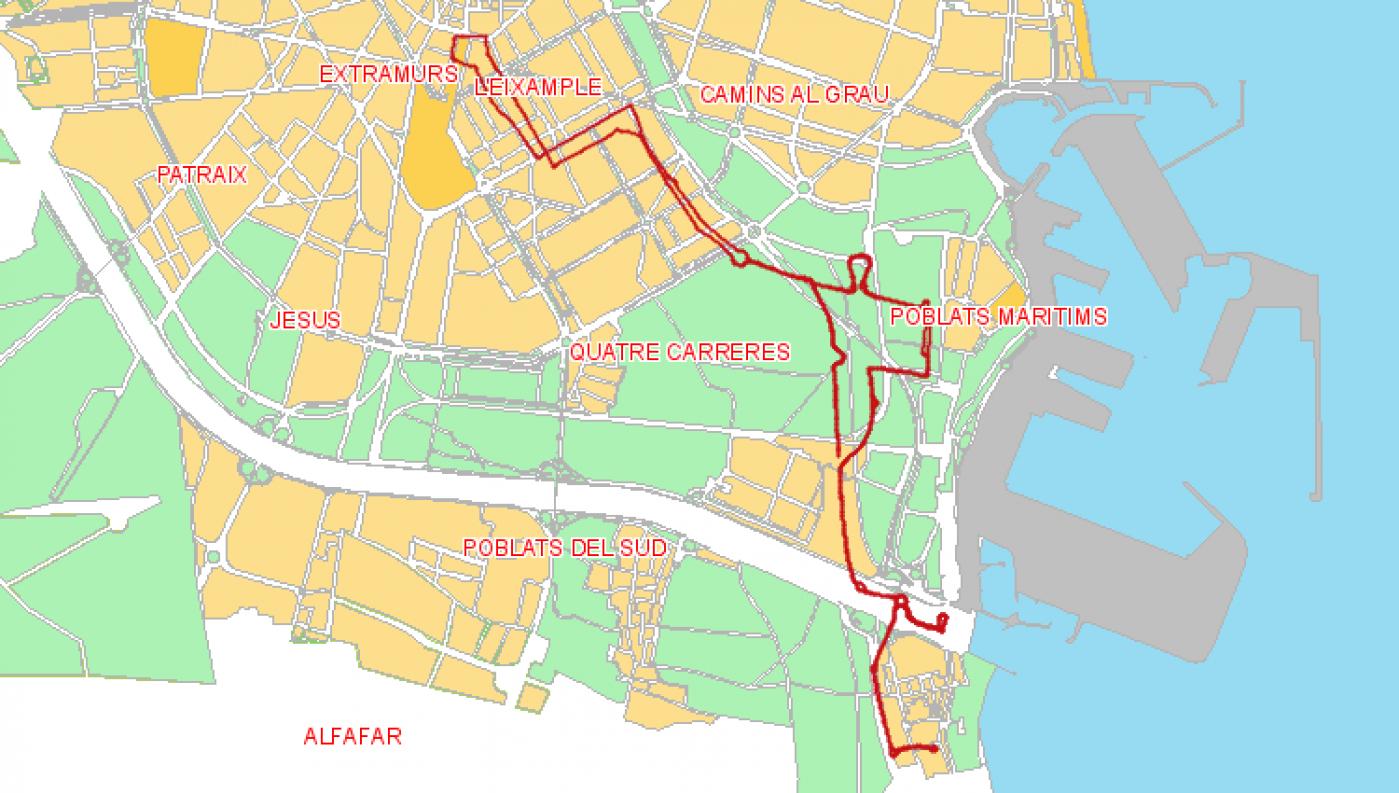 Recorrido esquemático, paradas y correspondencias Línea 15: Pinedo - Marqués de Sotelo