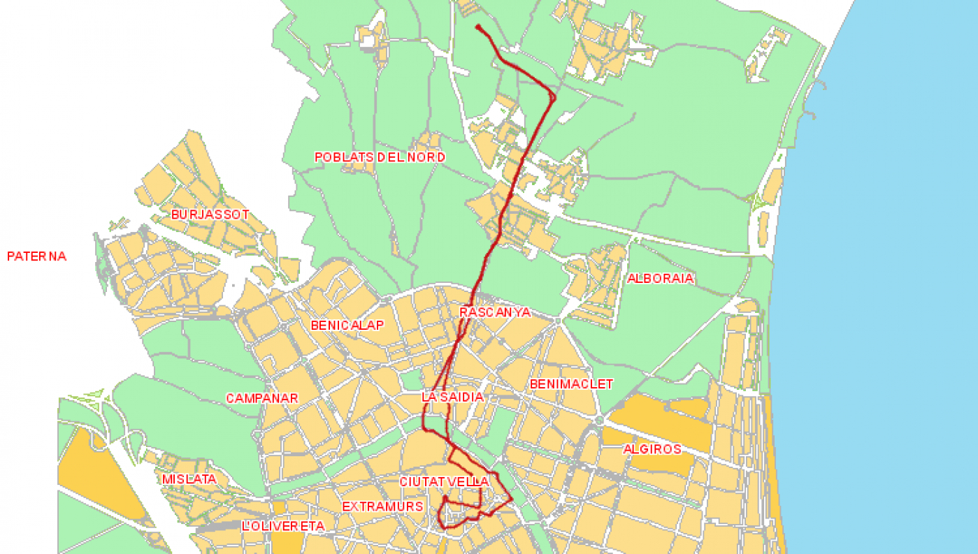 Recorrido esquemático, paradas y correspondencias Línea 16: Vinalesa - Plaza d l'Ajuntament
