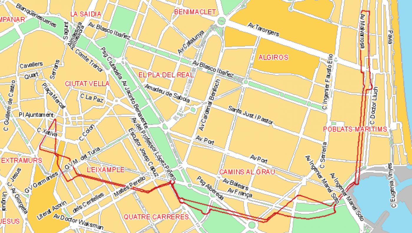 Recorrido esquemático, paradas y correspondencias Línea 19: La Malva-Rosa - Marina Real - Plaza d l'Ajuntament