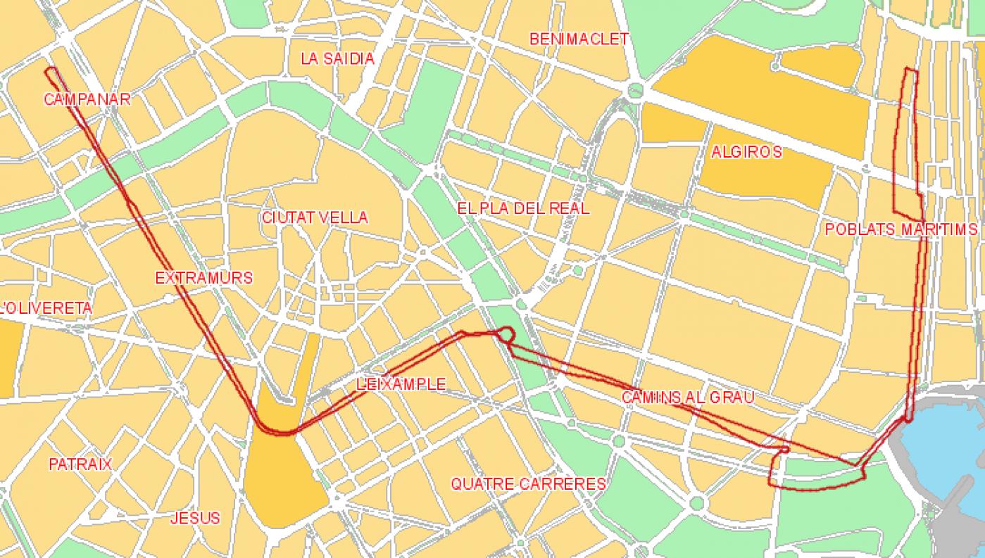 Recorrido esquemático, paradas y correspondencias Línea 2: La Malva-Rosa - Campanar