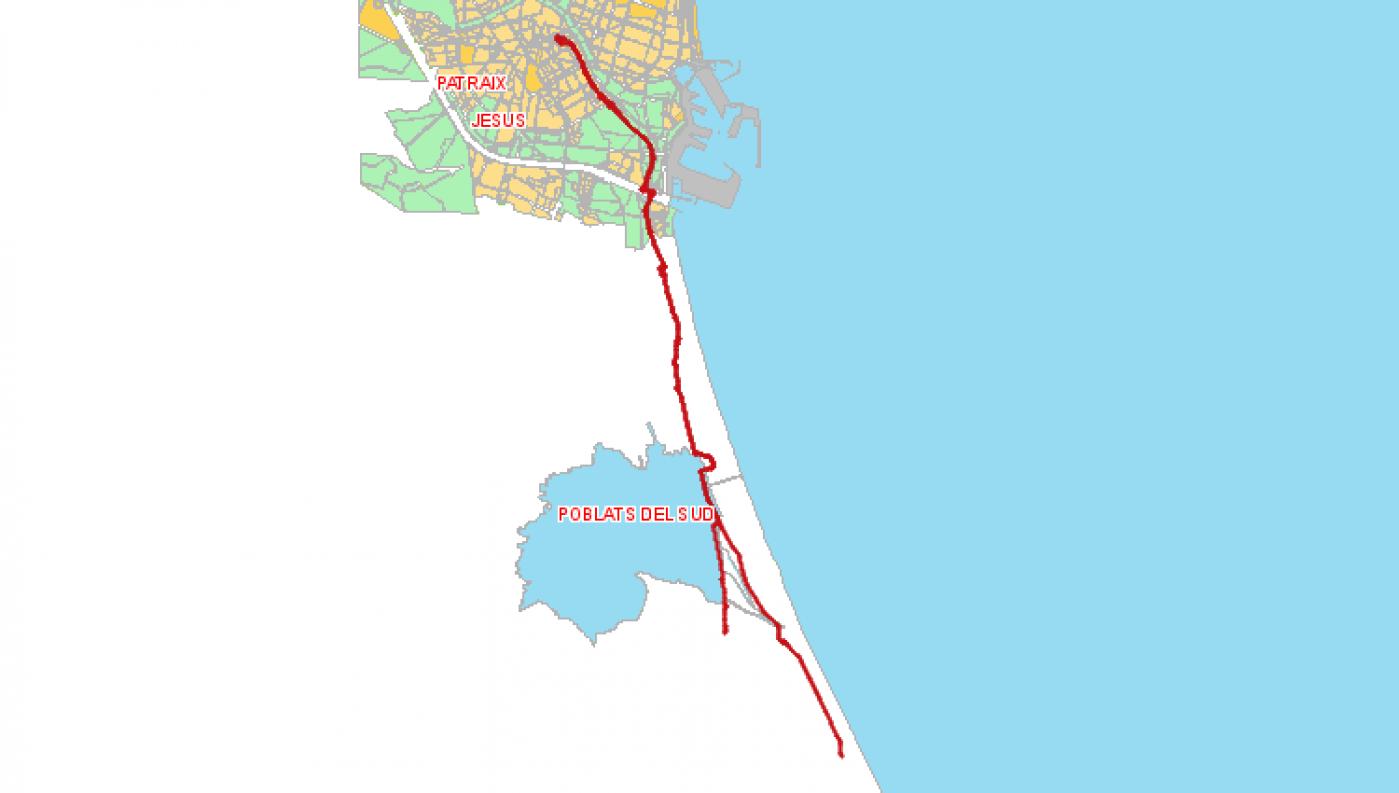 Recorrido esquemático, paradas y correspondencias Línea 25: Valencia - El Palmar - El Perrellonet