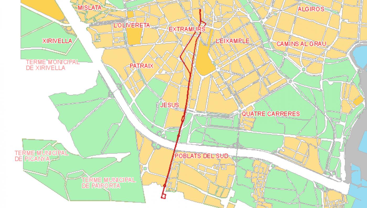 Recorrido esquemático, paradas y correspondencias Línea 27: La Torrel - Mercat Central