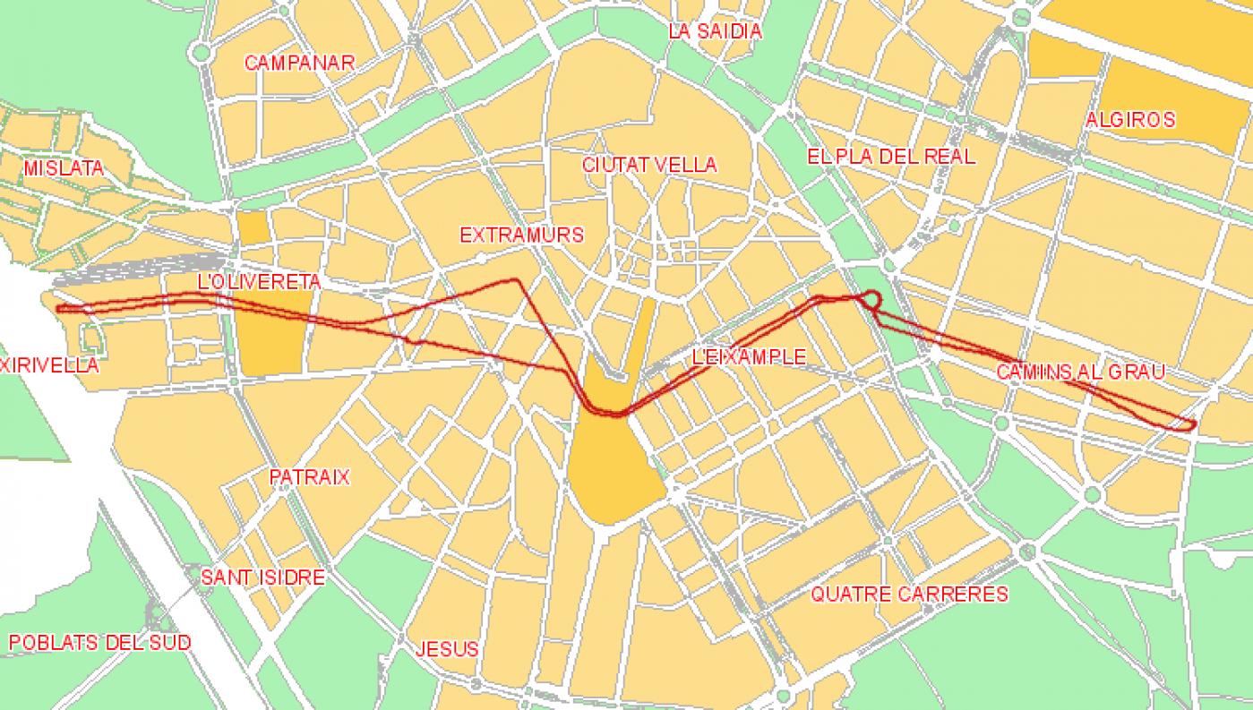 Recorrido esquemático, paradas y correspondencias Línea 3: Avenida del Cid - Natzaret - Plaza d l'Ajuntament