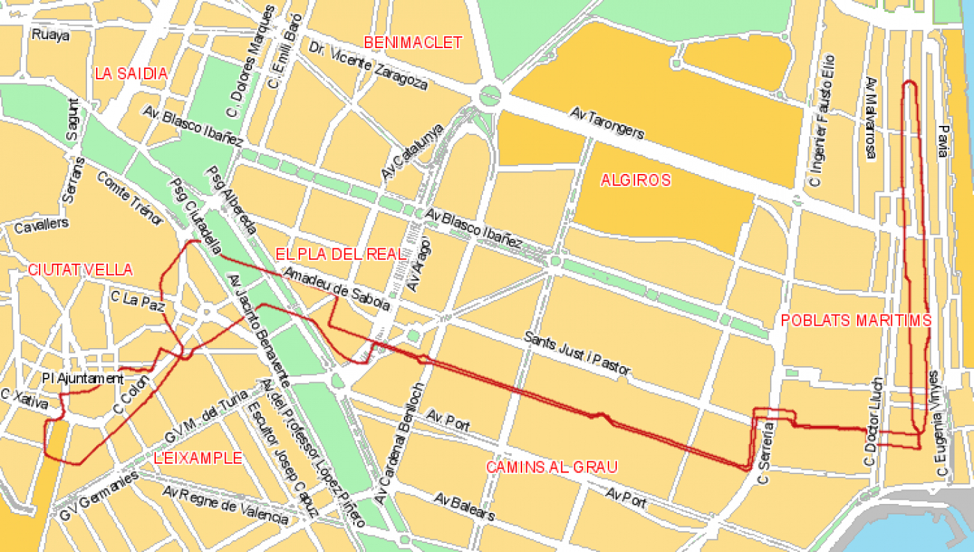 Recorrido esquemático, paradas y correspondencias Línea 32: Passeig Marítim - Marqués de Sotelo