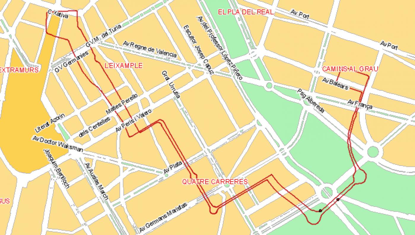 Recorrido esquemático, paradas y correspondencias Línea 35: Plaza d l'Ajuntament-Ciutat Arts i Ciències - I. Canàries