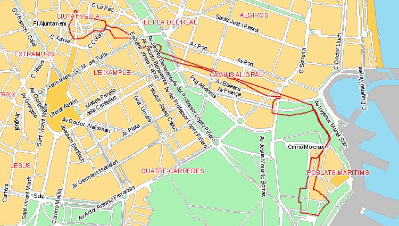 Recorrido esquemático, paradas y correspondencias Línea 4: Natzaret - Port Campanar