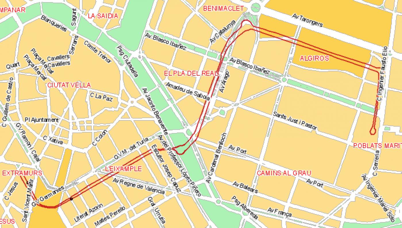 Recorrido esquemático, paradas y correspondencias Línea 41: Universitats - Plaza Espanya