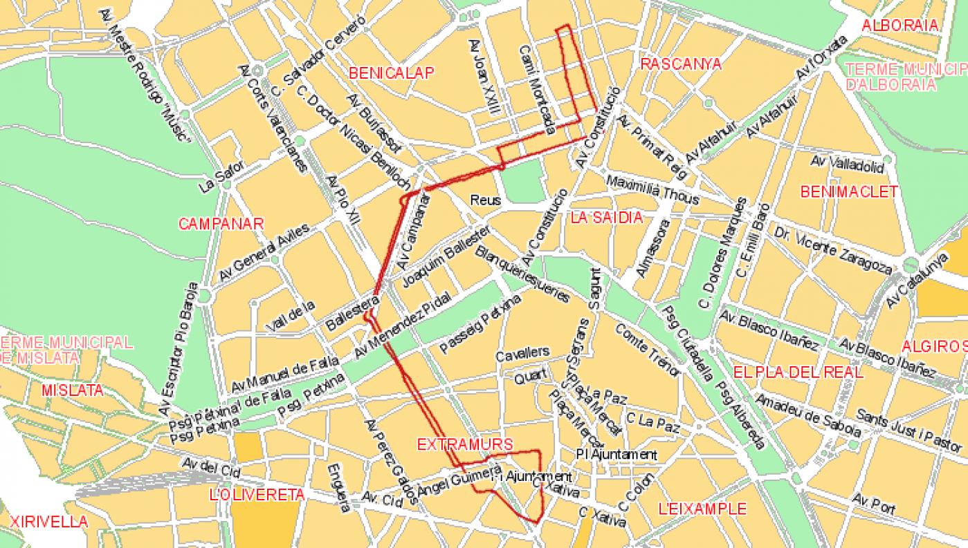 Recorrido esquemático, paradas y correspondencias Línea 42: Avenida Baró de Cárcer - Torrefiel