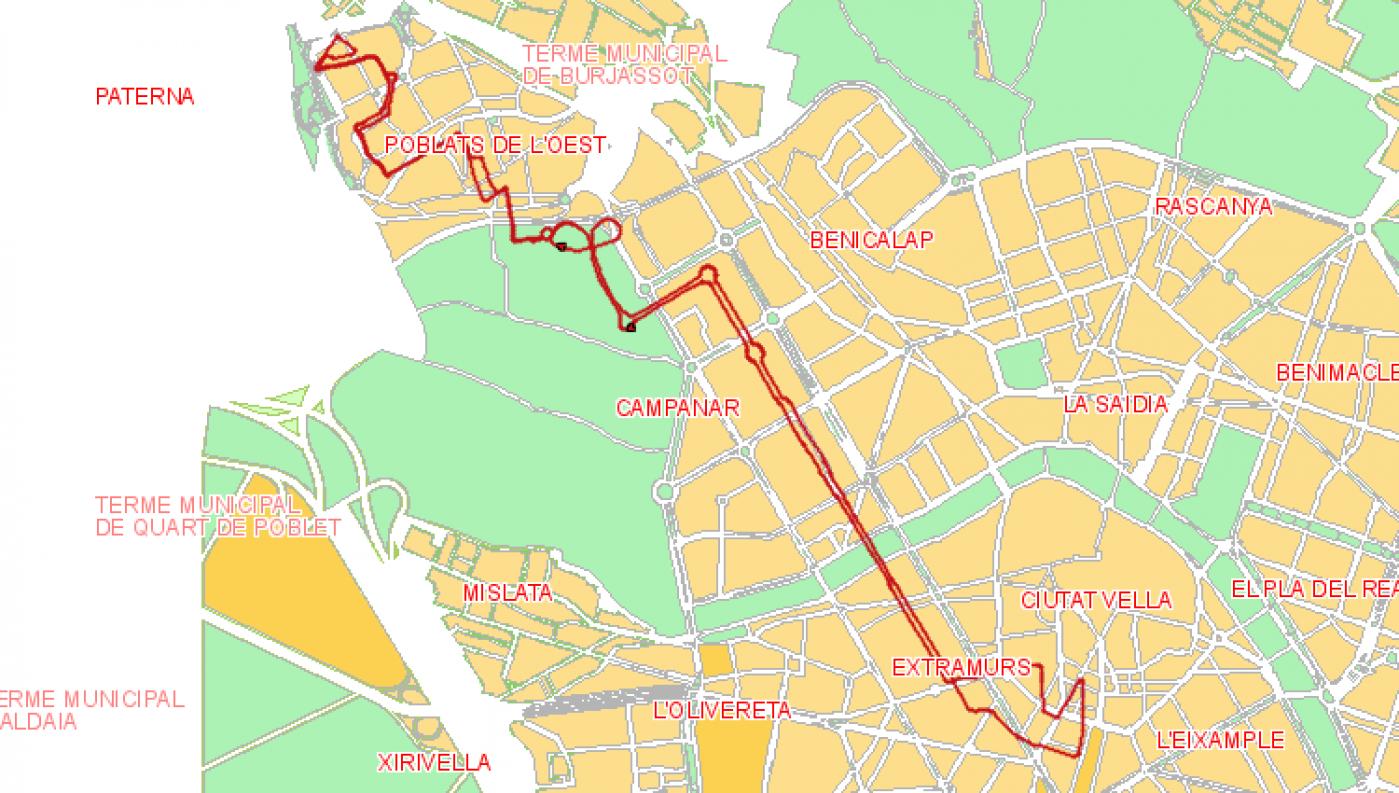 Recorrido esquemático, paradas y correspondencias Línea 62: Benimàmet - Plaza del Ayuntamiento