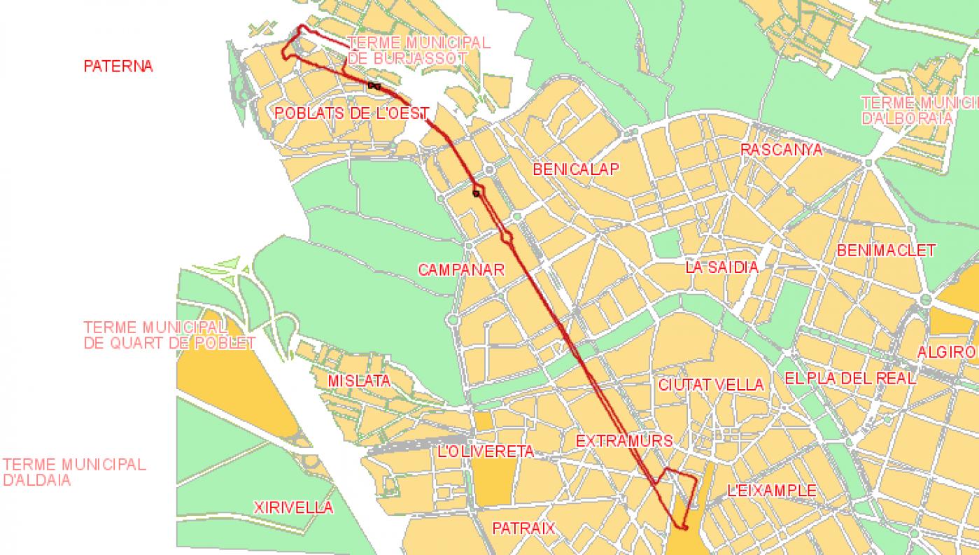 Recorrido esquemático, paradas y correspondencias Línea 63: Noves Facultats - Estacio Nord