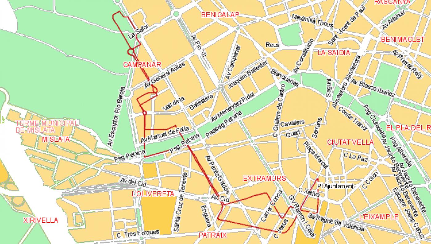 Recorrido esquemático, paradas y correspondencias Línea 67: Plaza del Ayuntamiento - Nou Campanar