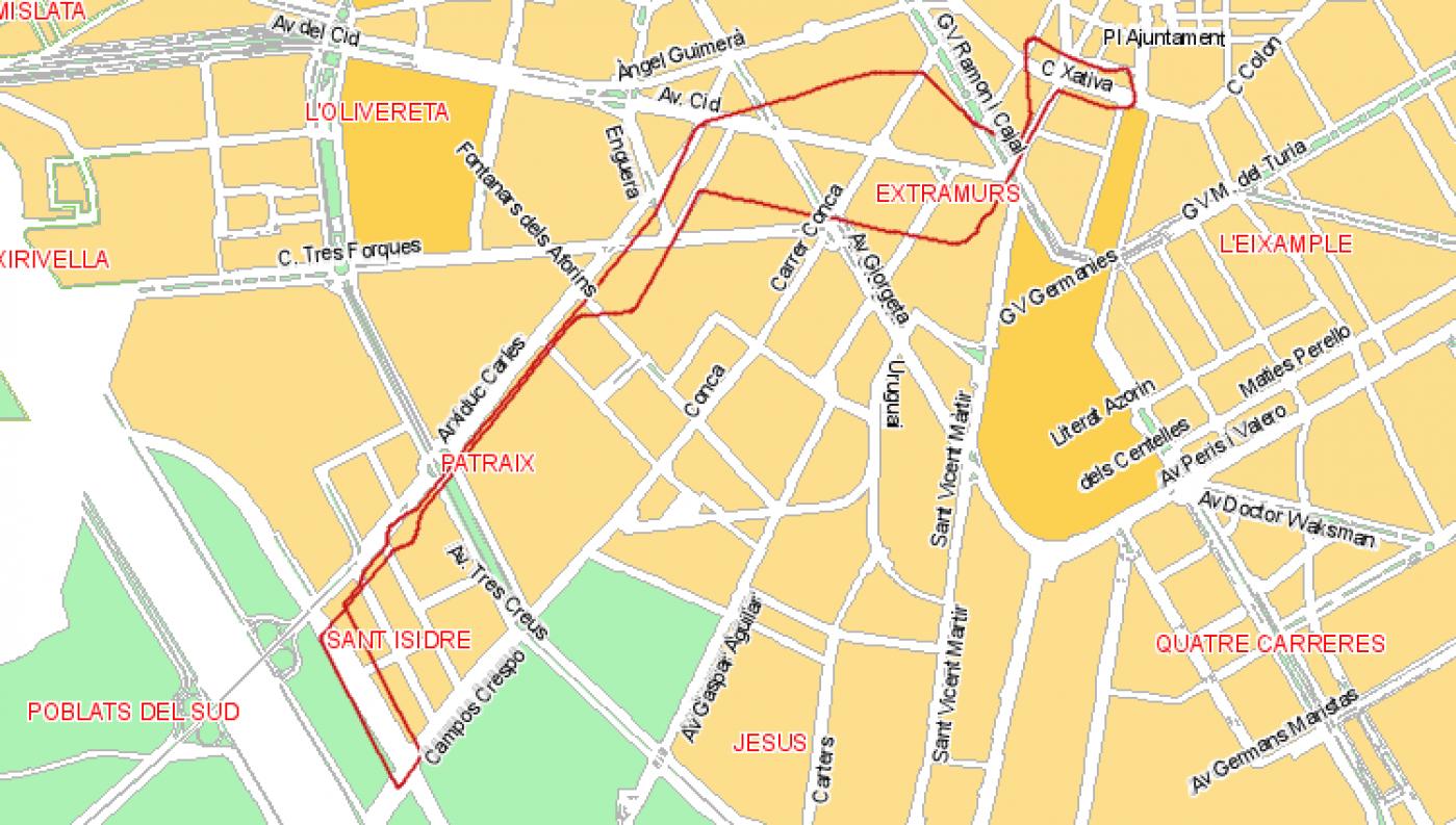 Recorrido esquemático, paradas y correspondencias Línea 72: Sant Isidre - Plaza del Ayuntamiento