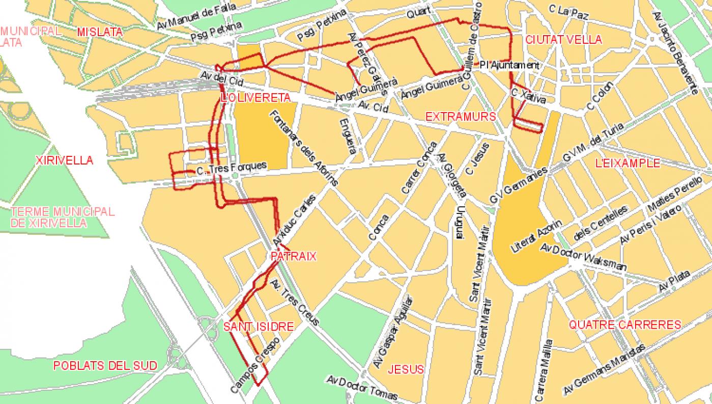 Recorrido esquemático, paradas y correspondencias Línea 73: Sant Isidre - Parreta