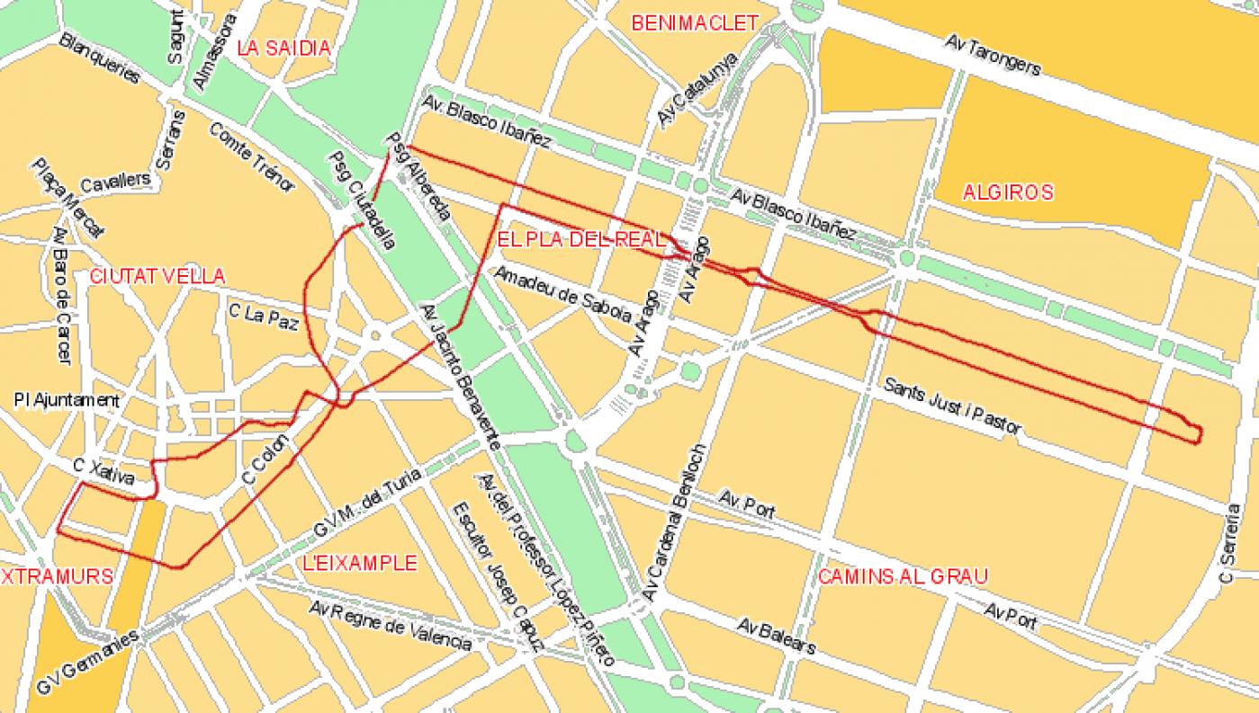 Recorrido esquemático, paradas y correspondencias Línea 81: Hospital General - Avenida Blasco Ibáñez