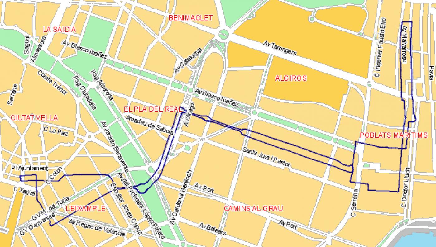 Recorrido esquemático, paradas y correspondencias Línea N1: Plaza del Ayuntamiento - Blasco Ibáñez - La Malva-Rosa