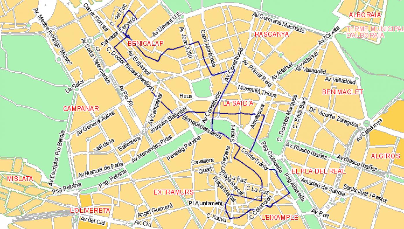 Recorrido esquemático, paradas y correspondencias Línea N10: Plaza del Ayuntamiento - Ciutat Fallera - Camino Moncada