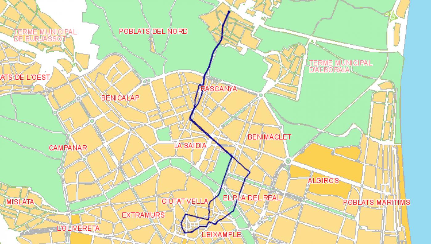Recorrido esquemático, paradas y correspondencias Línea N02: Plaza del Ayuntamiento - Primado Reig - Tavernes