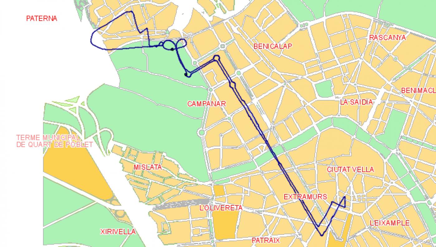 Recorrido esquemático, paradas y correspondencias Línea N03: Plaza del Ayuntamiento - Gran Vía Fernando Católic - Benimàmet