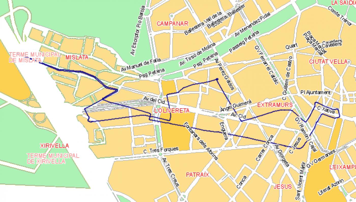 Recorrido esquemático, paradas y correspondencias Línea N04: Plaza del Ayuntamiento - Avenida del Cid - Mislata
