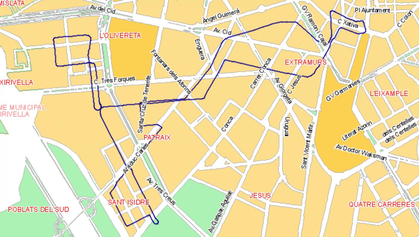 Recorrido esquemático, paradas y correspondencias Línea N05: Plaza del Ayuntamiento - Sant Isidre - La Fontsanta