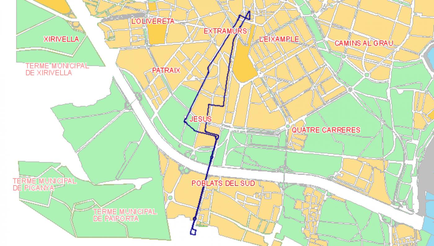 Recorrido esquemático, paradas y correspondencias Línea N06: Plaza del Ayuntamiento - Jesús - La Torre