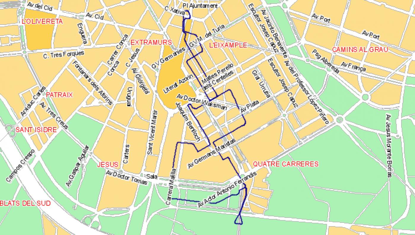 Recorrido esquemático, paradas y correspondencias Línea N07: Plaza del Ayuntamiento - Malilla - La Fonteta