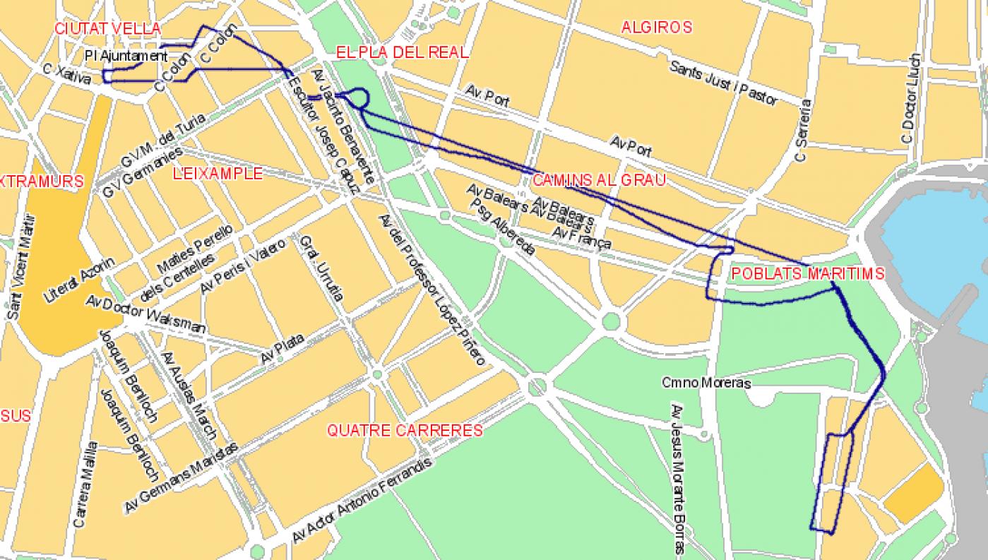 Recorrido esquemático, paradas y correspondencias Línea N08: Plaza del Ayuntamiento - Avenida Port - Natzaret