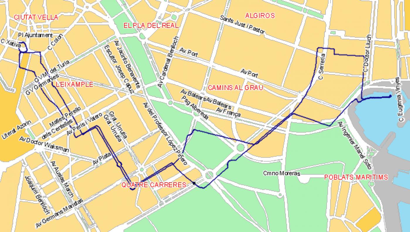 Recorrido esquemático, paradas y correspondencias Línea N09: Plaza del Ayuntamiento - Mont-Olivet - Cavanyal