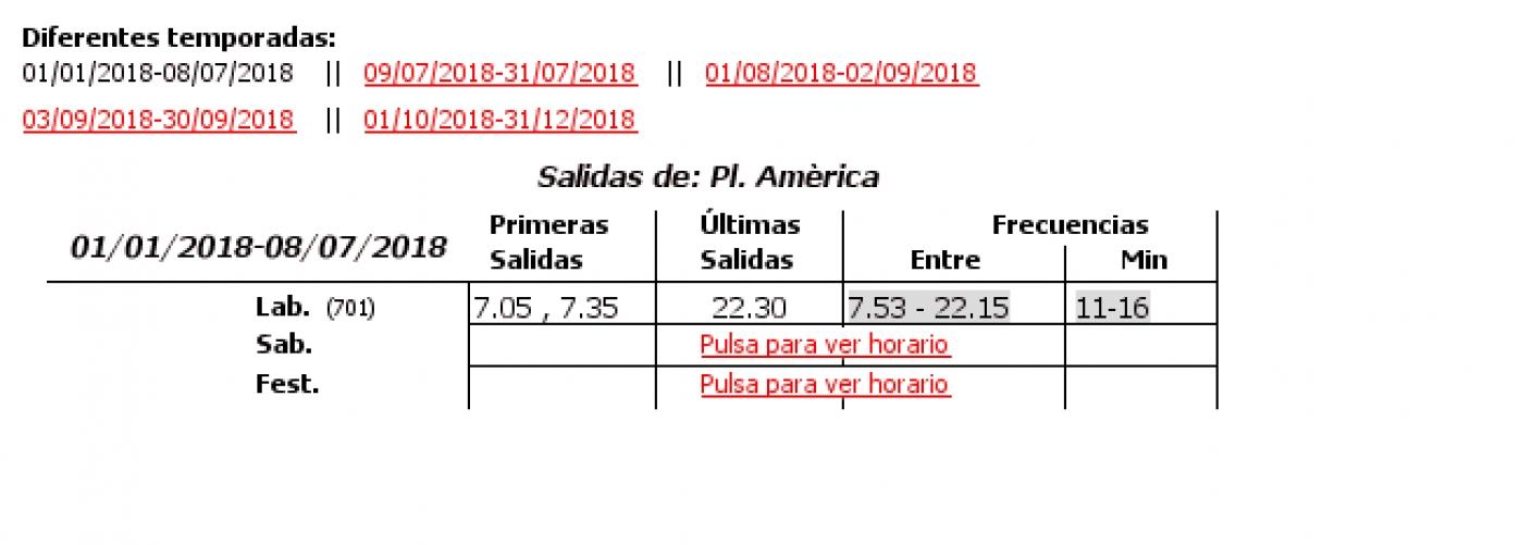 Tabla de horarios y frecuencias de paso en sentido ida Línea 12: Ciutat Art. Faller - Plaza Amèrica