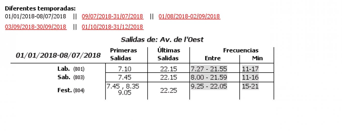 Tabla de horarios y frecuencias de paso en sentido ida Línea 13: La Fonteta-Ciutat Arts i Ciencies - B. de Càrcer