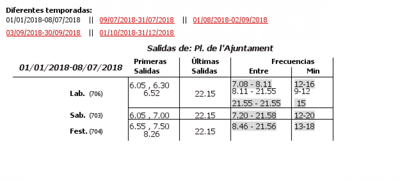 Tabla de horarios y frecuencias de paso en sentido ida Línea 16: Vinalesa - Plaza d l'Ajuntament