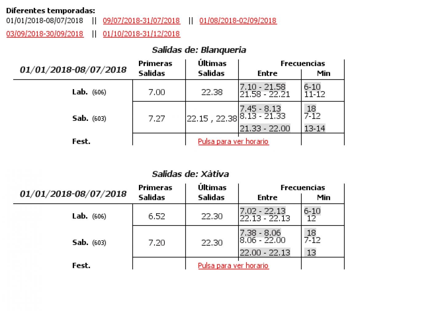 Tabla de horarios y frecuencias de paso en sentido ida Línea 5: Interior