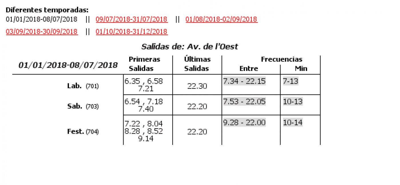 Tabla de horarios y frecuencias de paso en sentido ida Línea 42: Avenida Baró de Cárcer - Torrefiel