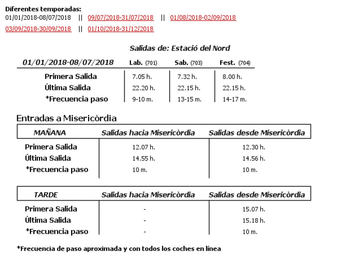 Tabla de horarios y frecuencias de paso en sentido ida Línea 73: Sant Isidre - Parreta