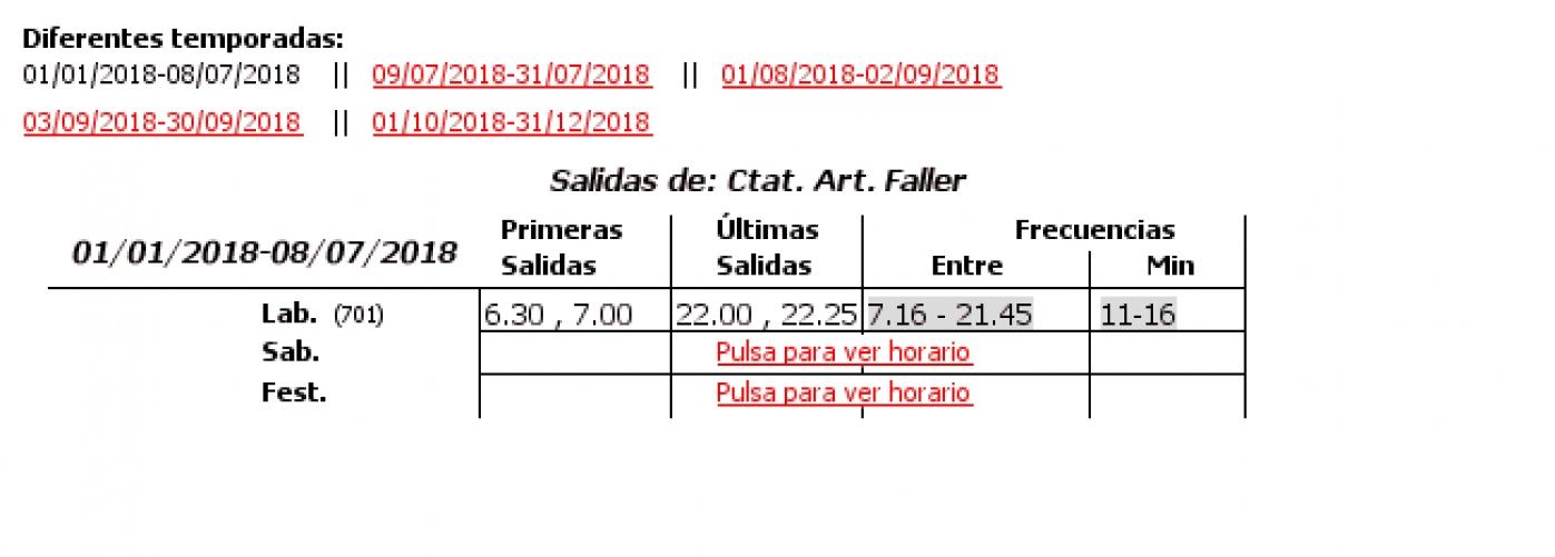 Tabla de horarios y frecuencias de paso en sentido vuelta Línea 12: Ciutat Art. Faller - Plaza Amèrica