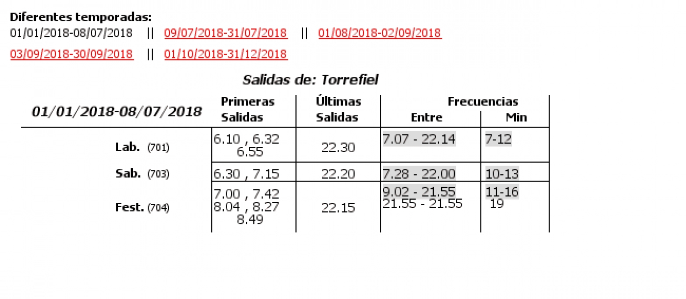 Tabla de horarios y frecuencias de paso en sentido vuelta Línea 42: Avenida Baró de Cárcer - Torrefiel