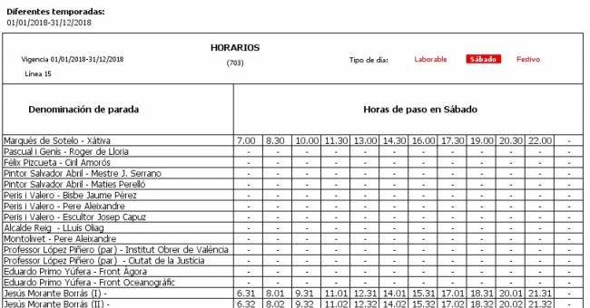 L nea 15 autobuses emt de valencia for Horario oficina correos valencia