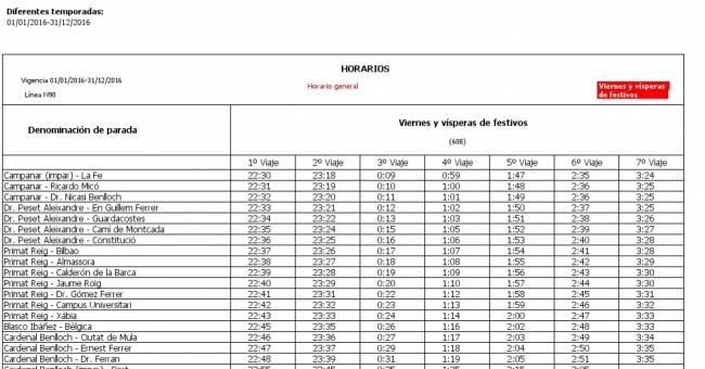 L nea n90 autobuses emt de valencia for Horario oficina correos valencia