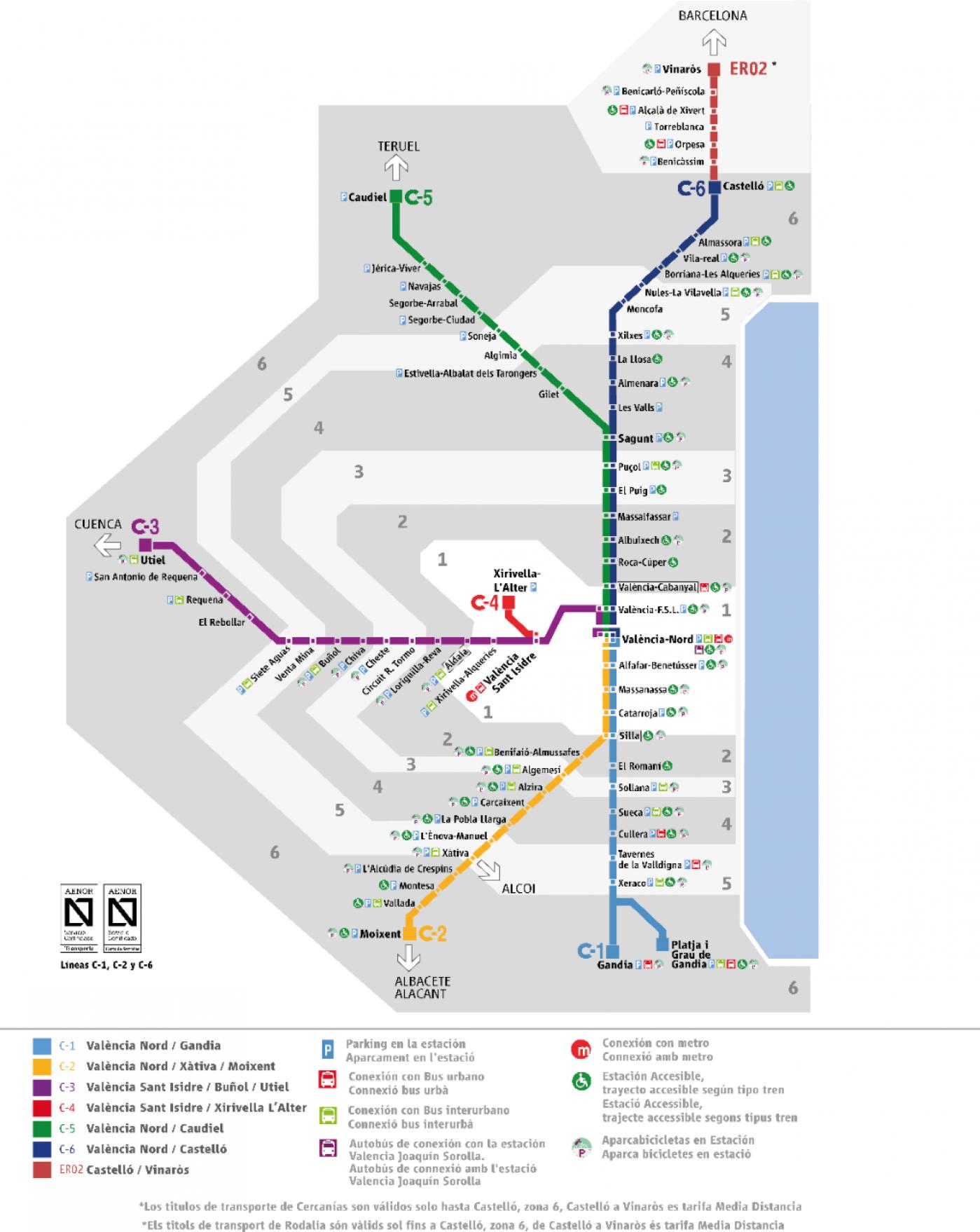 Plano de RENFE Cercanías Valencia