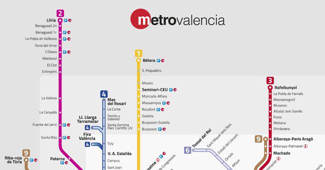 Plano de Metro de Valencia