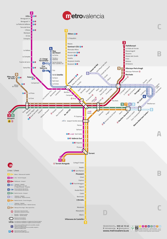 mapa do metro de valencia espanha Plano de Metro de Valencia 2018 mapa do metro de valencia espanha